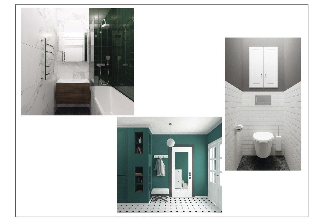 визуализации ванной, туалета и входной группы