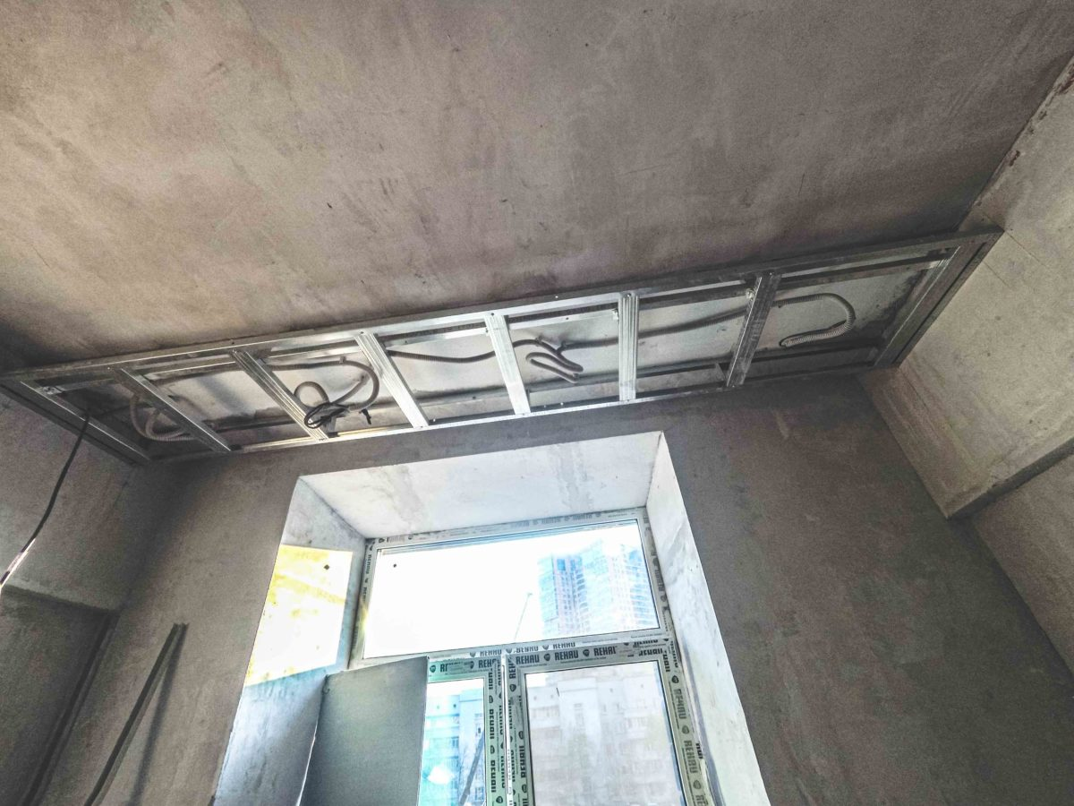 монтаж короба для подвесного потолка